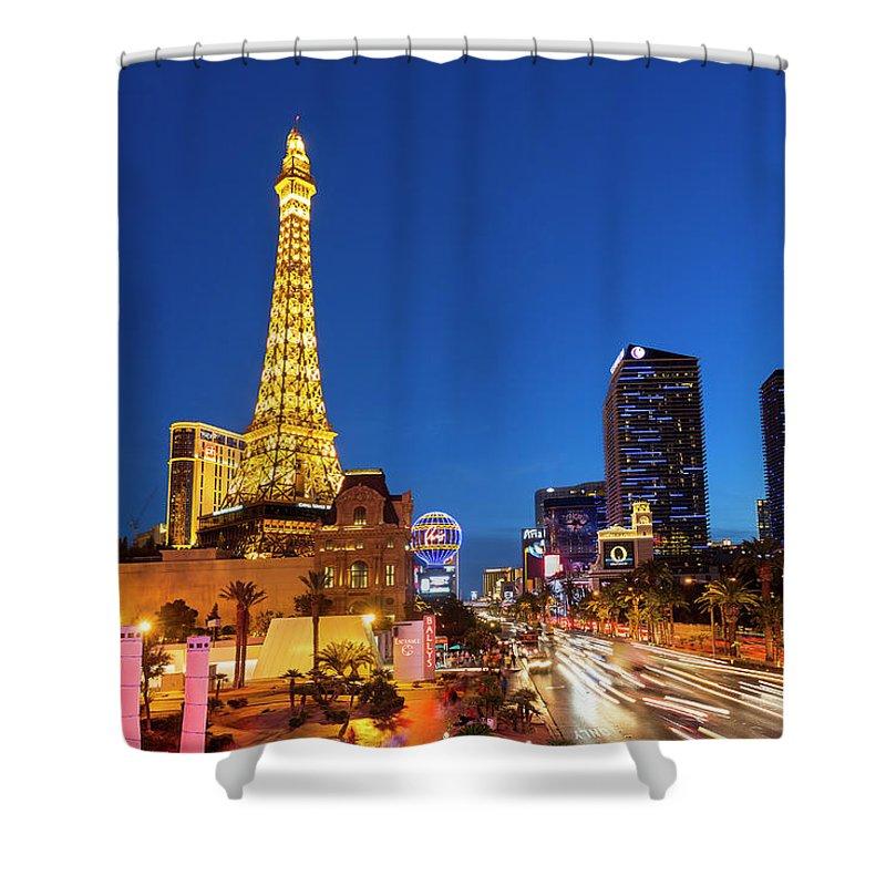 Las Vegas Replica Eiffel Tower Shower Curtain featuring the photograph Usa, Nevada, Las Vegas, Paris Las Vegas by Sylvain Sonnet