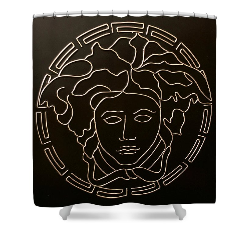 Versace Shower Curtain Featuring The Mixed Media Medusa Head By Peter Virgancz