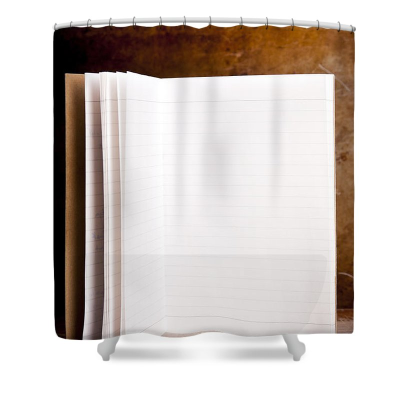 Ancient Shower Curtain featuring the photograph Vintage Blank Notepad 1 by Tim Hester