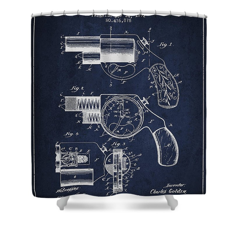 Pistol Patent Shower Curtain featuring the digital art Vintage Pistol Patent From 1892 by Aged Pixel