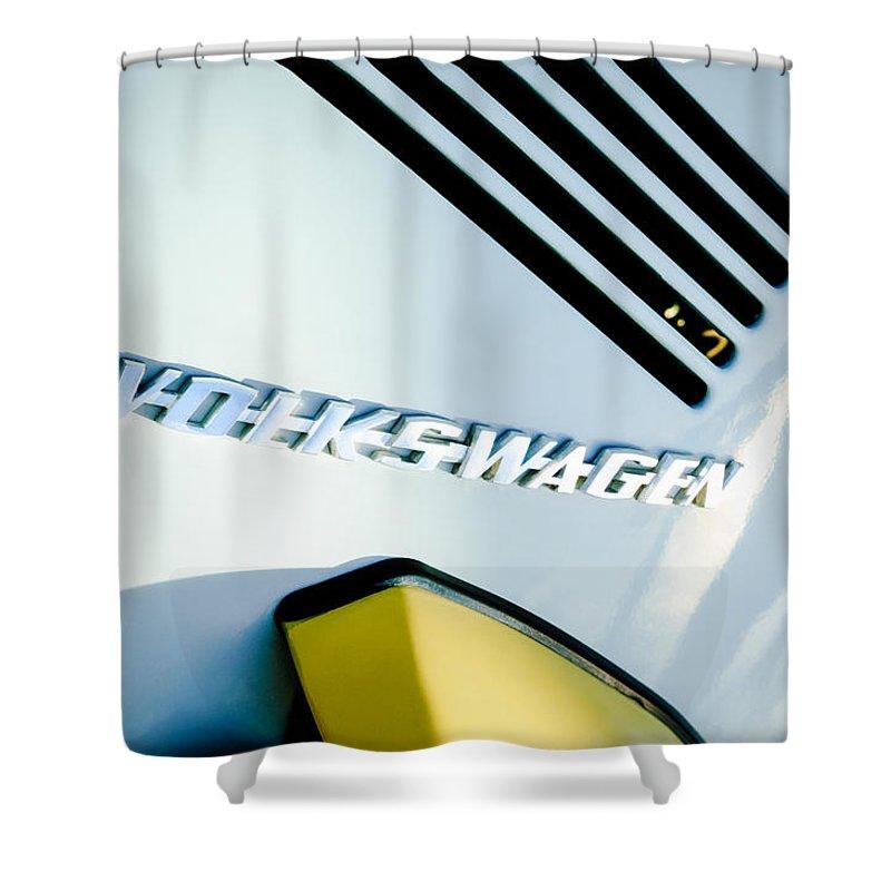 Volkswagen Vw Emblem Shower Curtain featuring the photograph Volkswagen Vw Emblem by Jill Reger