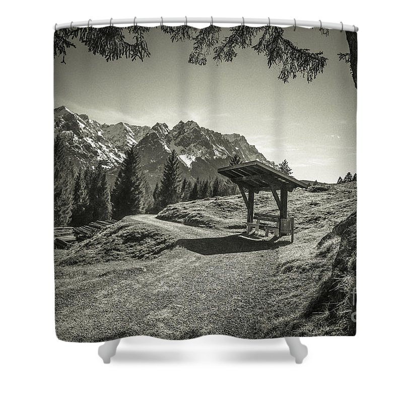 Alpspitze Shower Curtain featuring the photograph walking in the Alps - bw by Hannes Cmarits