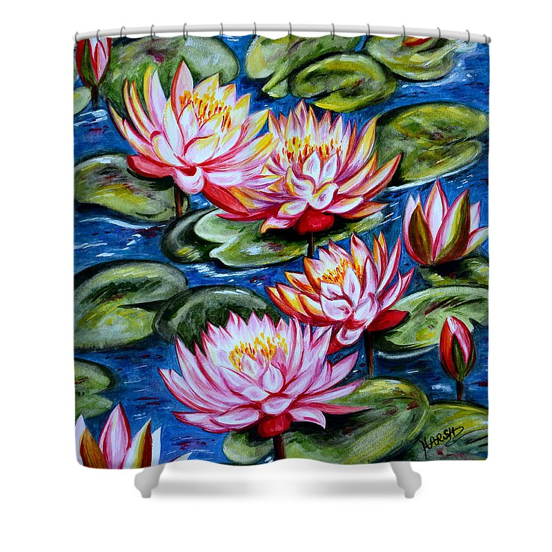 Water Lilies Shower Curtain featuring the painting Water Lilies by Harsh Malik