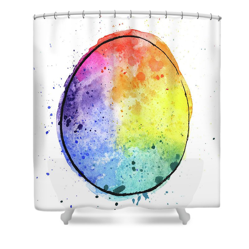 Watercolor Painting Shower Curtain featuring the digital art Watercolor Painting Of A Colorful by Andrea hill