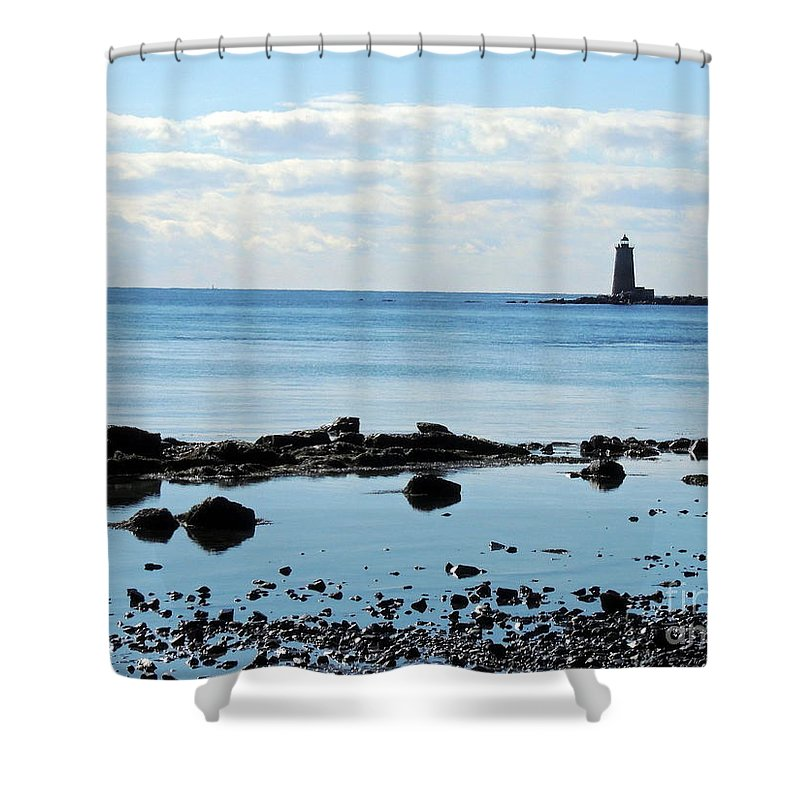 Seascape Shower Curtain featuring the photograph Whaleback Lighthouse by Marcia Lee Jones