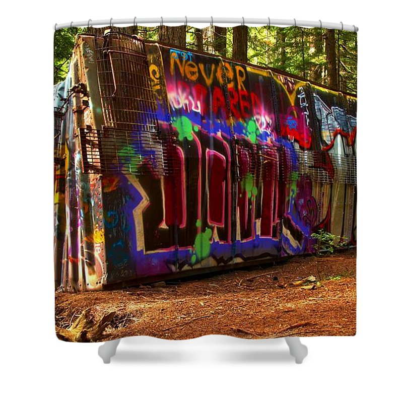 Train Wreck Shower Curtain featuring the photograph Whistler Train Wreck Box Car by Adam Jewell