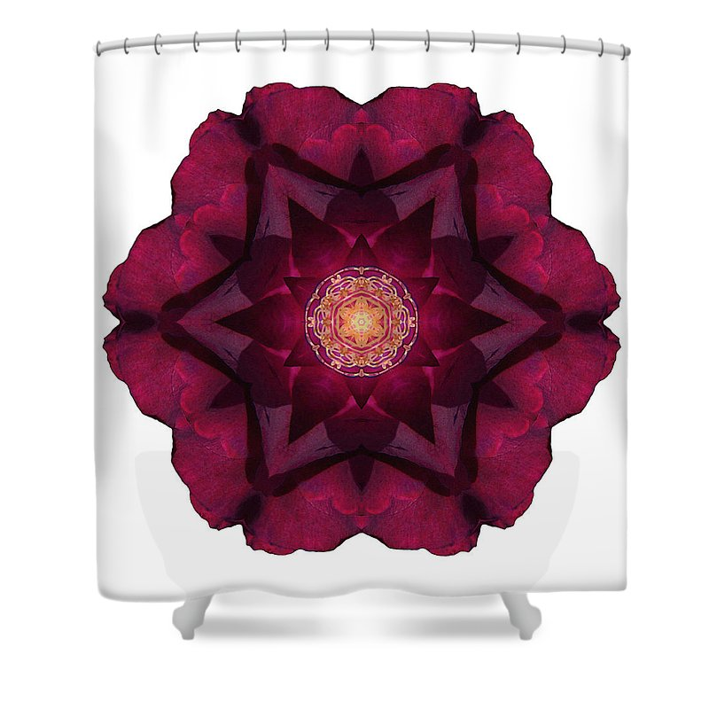Flower Shower Curtain featuring the photograph Beach Rose I Flower Mandala White by David J Bookbinder