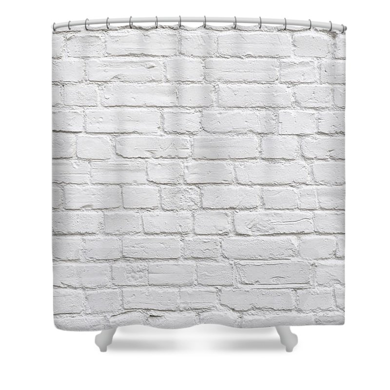 Wall Shower Curtain Featuring The Photograph White Brick By Dutourdumonde Photography