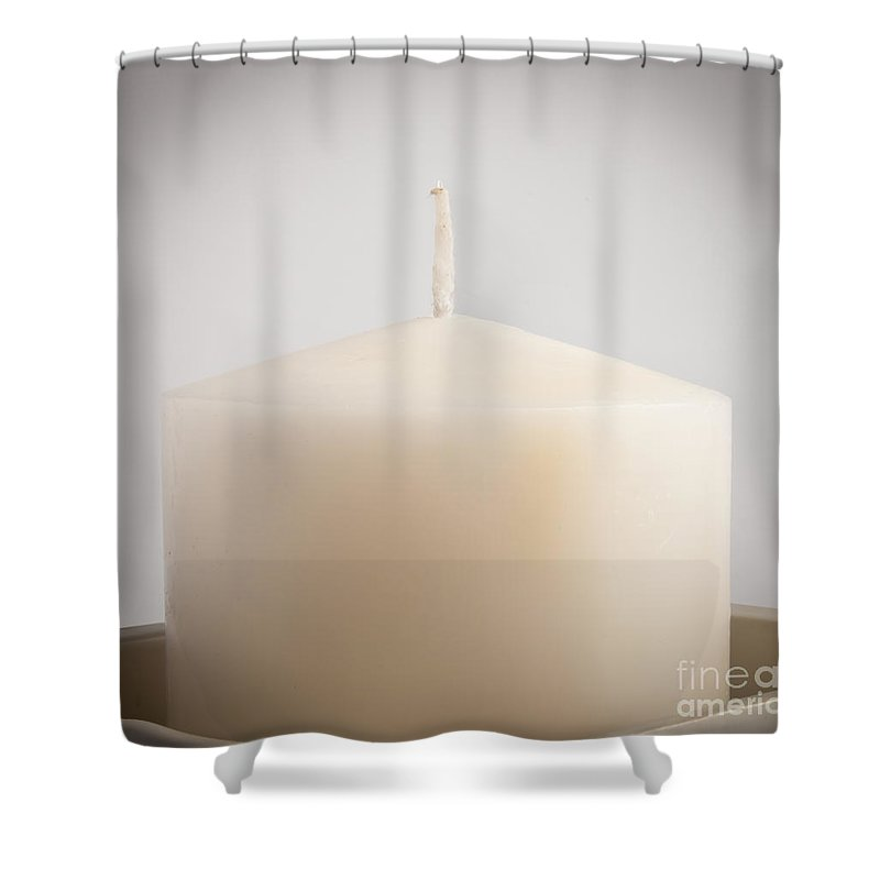 Anniversary Shower Curtain featuring the photograph White Candle by Tim Hester