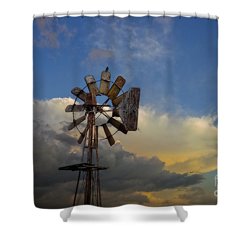 Windmill Shower Curtain featuring the photograph Windmill And Clouds by David Arment