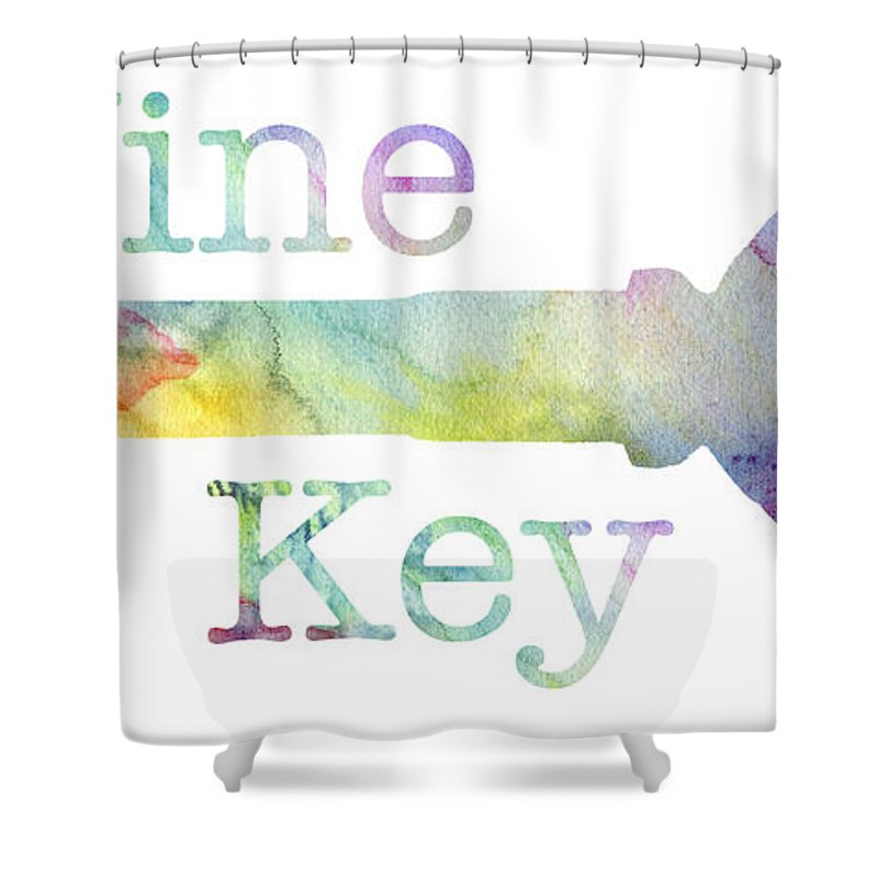 Wine Shower Curtain featuring the mixed media Wine Key Watercolor by Jon Neidert