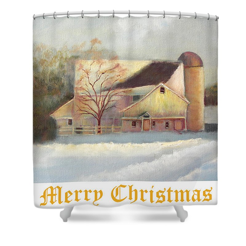 Winter Shower Curtain featuring the painting Winter Hush Holiday Card1 by Loretta Luglio
