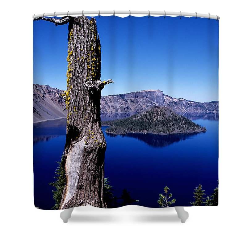 Crater Lake Shower Curtain featuring the photograph Wizard Island by Sharon Elliott