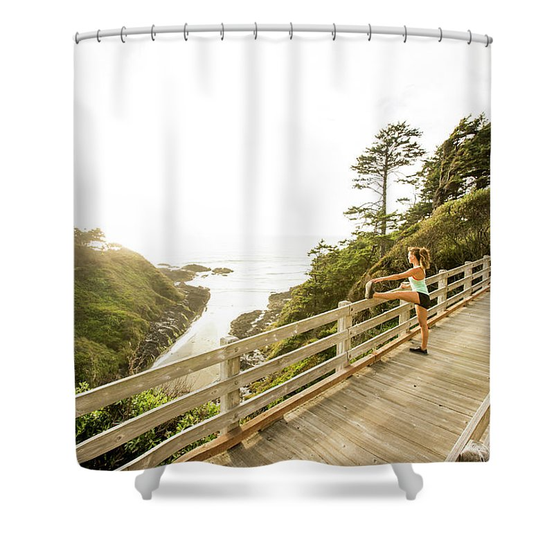Scenics Shower Curtain featuring the photograph Woman Running For Exercise by Jordan Siemens