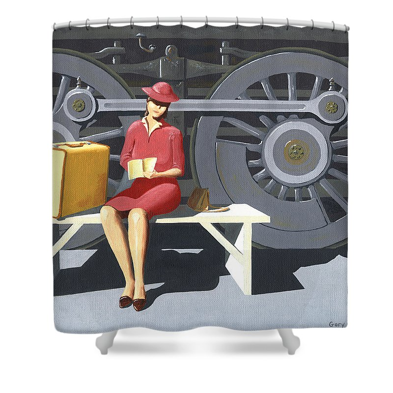 Woman Shower Curtain featuring the painting Woman With Locomotive by Gary Giacomelli