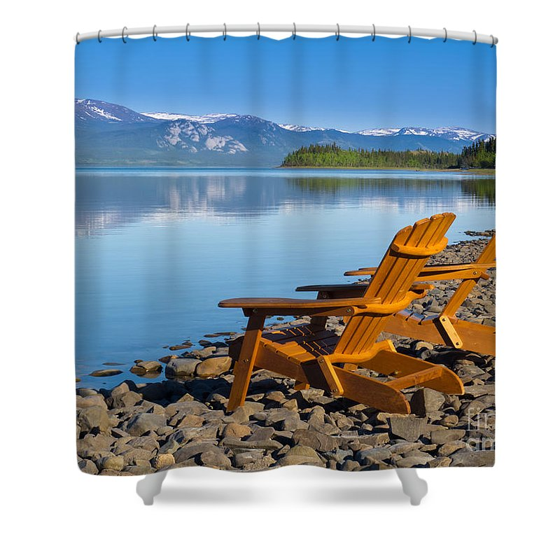 Adirondack Shower Curtain featuring the photograph Wooden Deckchairs Overlooking Scenic Lake Laberge by Stephan Pietzko