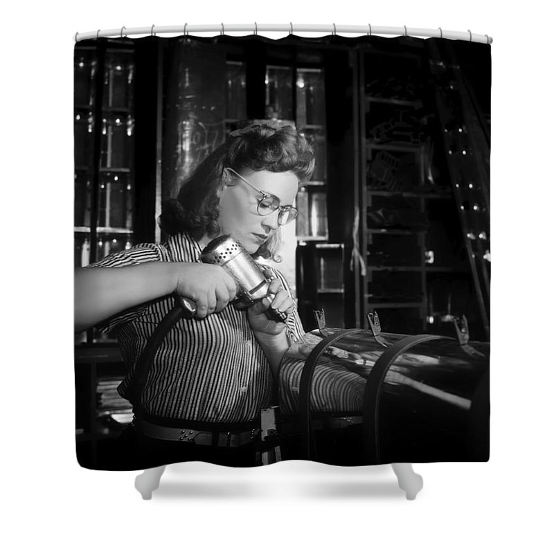 1942 Shower Curtain featuring the photograph Working With The Hand Drill 1942 by Mountain Dreams