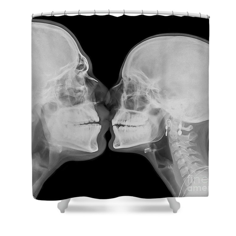 Bizarre Shower Curtain featuring the photograph X-ray Kissing by Guy Viner