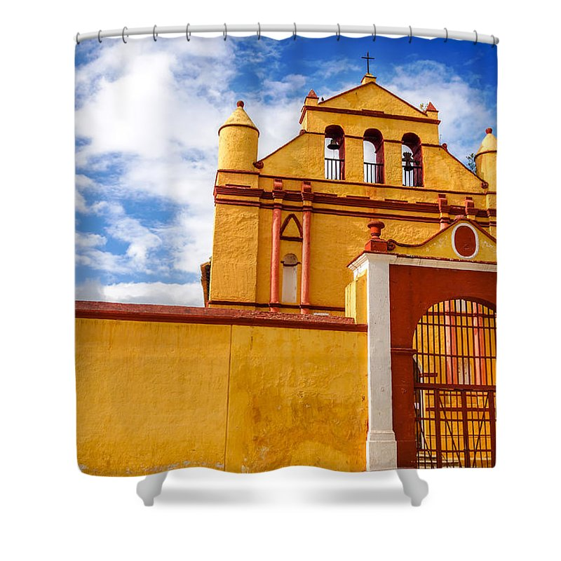 Cristobal Shower Curtain featuring the photograph Yellow Colonial Church by Jess Kraft