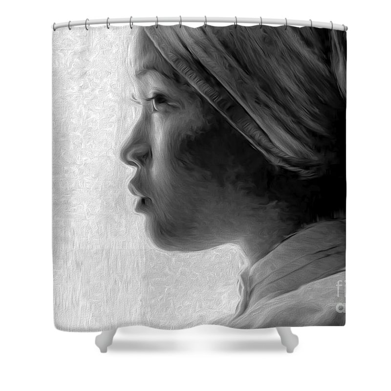 Young Woman Shower Curtain featuring the photograph Young Woman In Turban by Sheila Smart Fine Art Photography