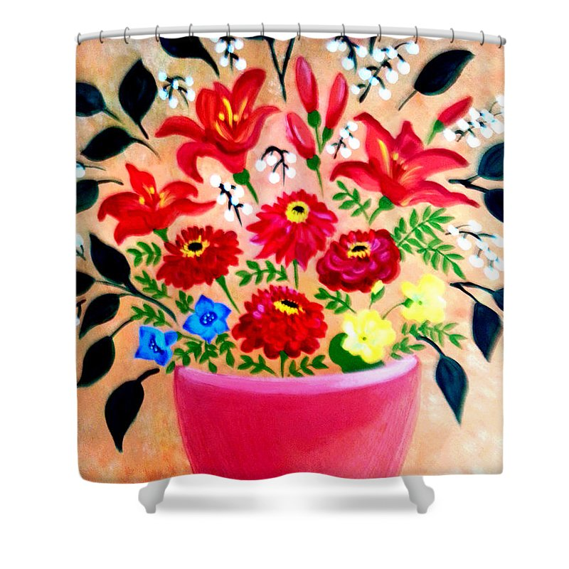 Floral Shower Curtain featuring the painting Zinnias And Lilies by Nikki Dalton