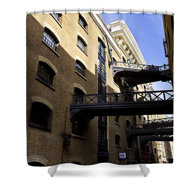 Butlers Wharf Shower Curtain featuring the photograph Butlers Wharf London by David Pyatt