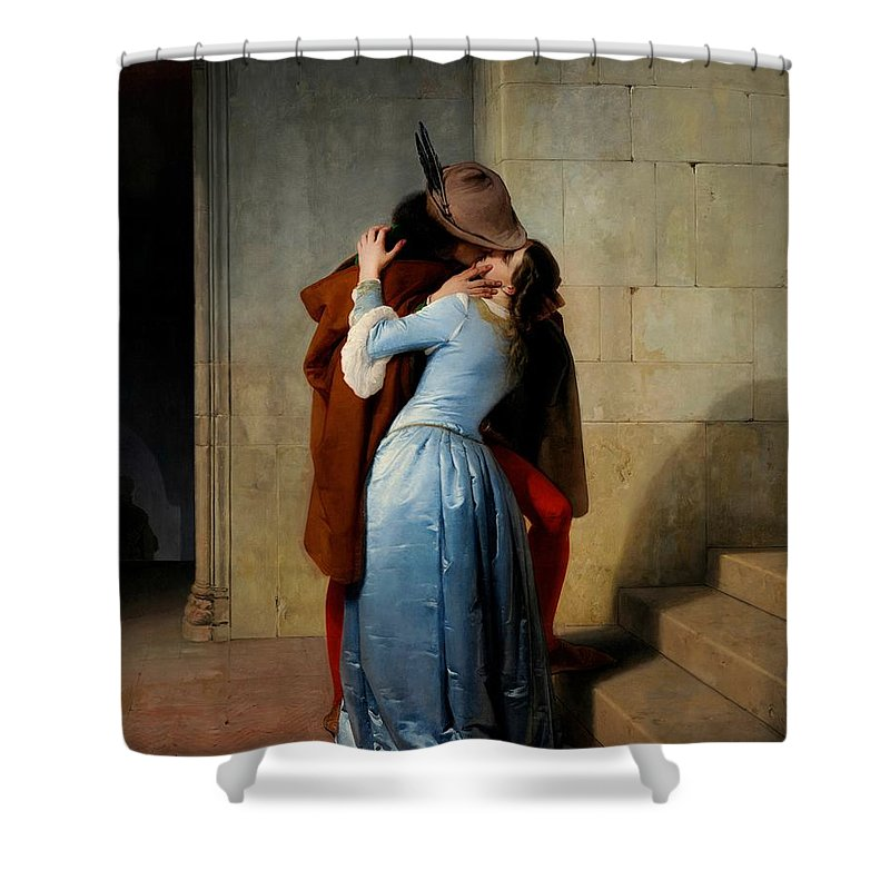 Lovers Shower Curtain featuring the painting The Kiss by Francesco Hayez