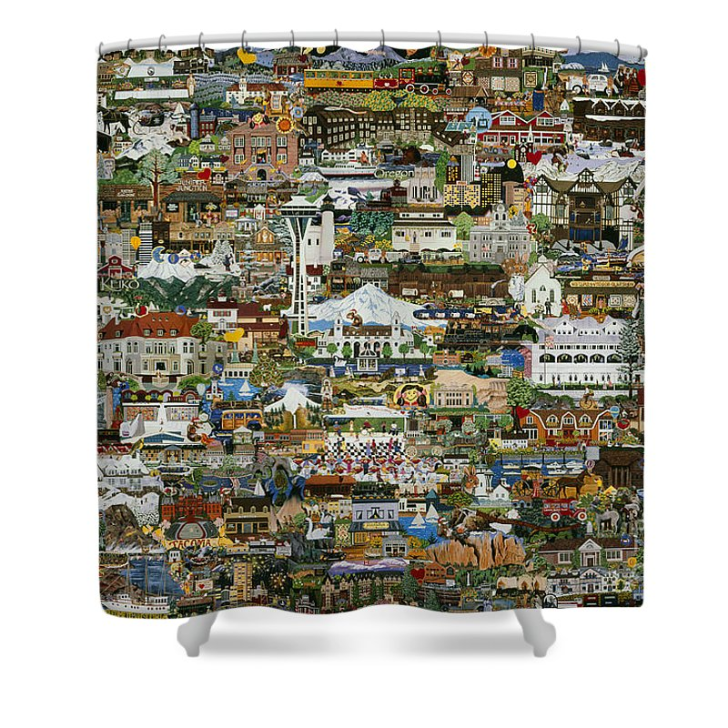 Collage Shower Curtain featuring the painting 100 Painting Collage by Jennifer Lake