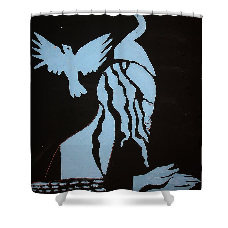 Jesus Shower Curtain featuring the painting Baptism Of The Lord Jesus by Gloria Ssali