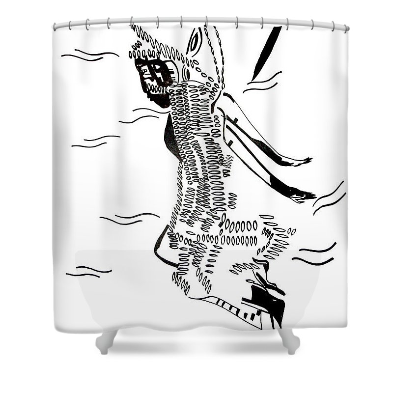 Jesus Shower Curtain featuring the drawing Dinka Dance - South Sudan by Gloria Ssali