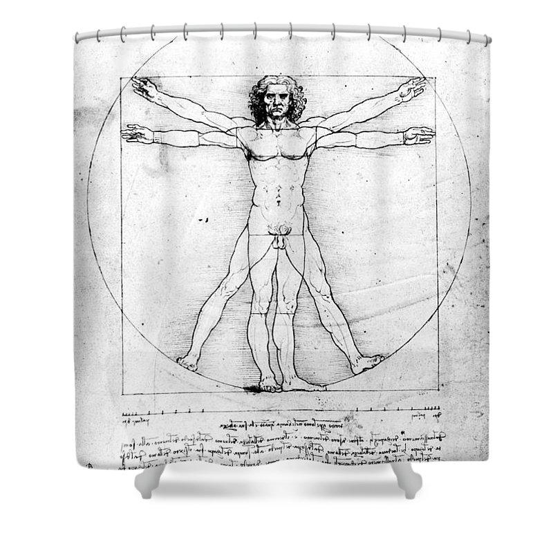 1492 Shower Curtain Featuring The Photograph Leonardo Anatomy By Granger