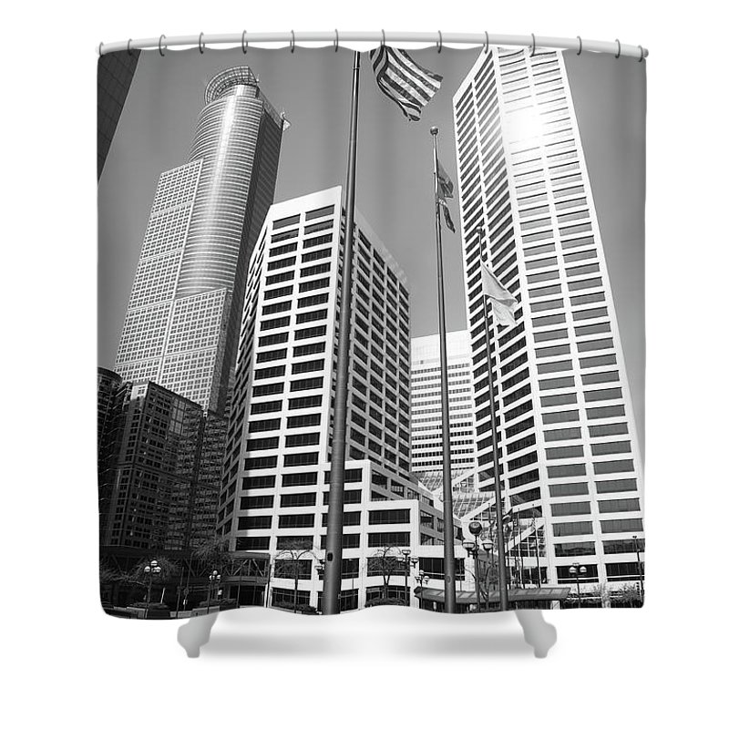 America Shower Curtain featuring the photograph Minneapolis Skyscrapers by Frank Romeo