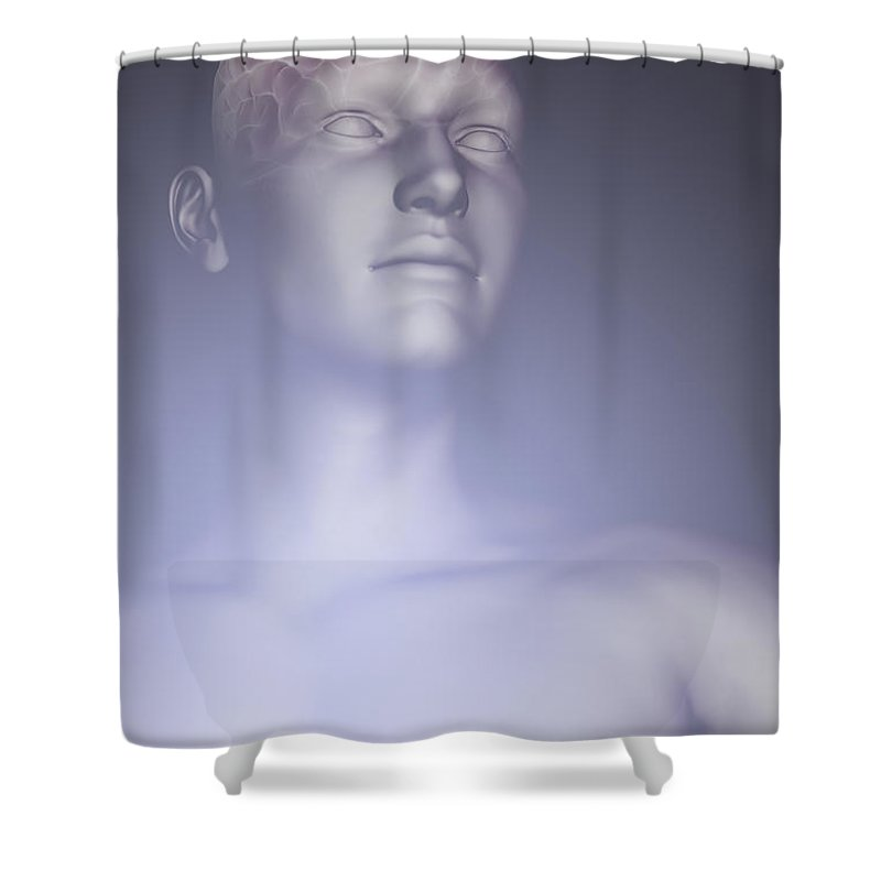 Biomedical Illustration Shower Curtain featuring the photograph The Human Brain by Science Picture Co