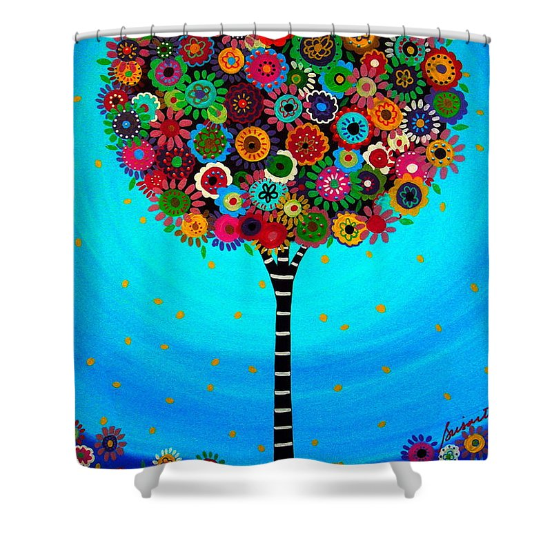 Tree Of Life Shower Curtain featuring the painting Tree Of Life by Pristine Cartera Turkus