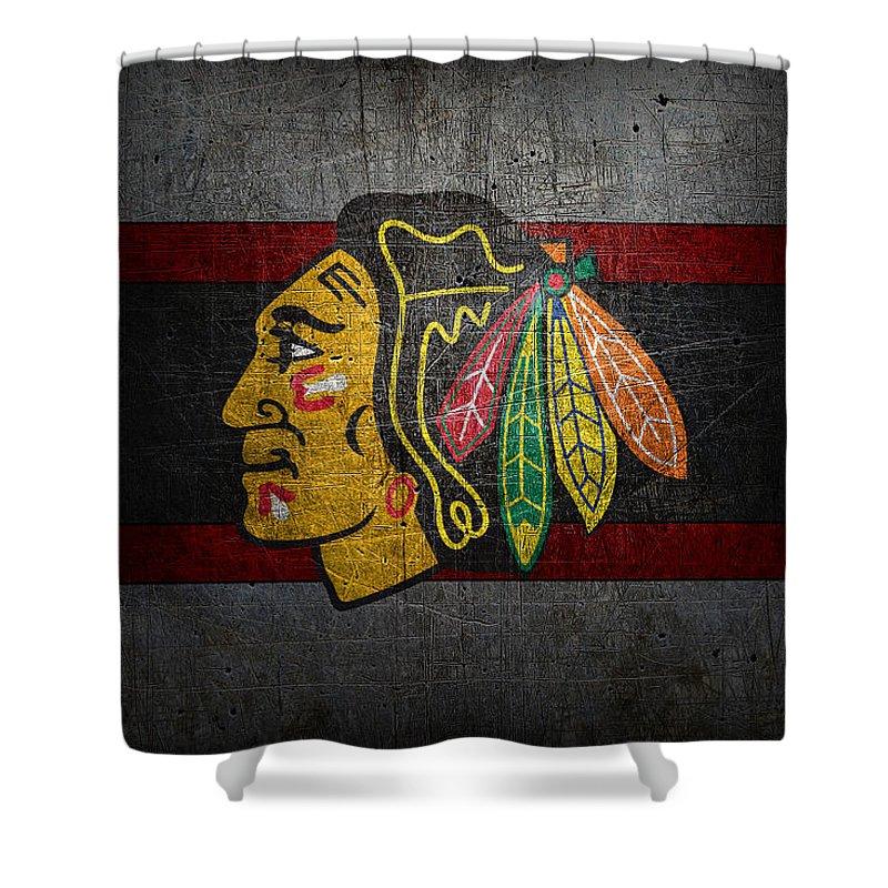 Blackhawks Shower Curtain Featuring The Photograph Chicago By Joe Hamilton