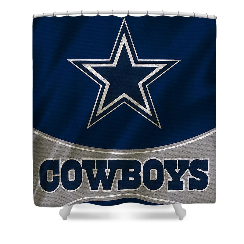Cowboys Shower Curtain featuring the photograph Dallas Cowboys Uniform by Joe Hamilton