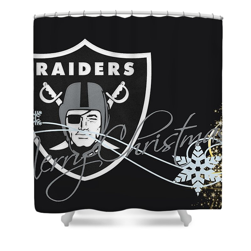 Raiders Shower Curtain Featuring The Photograph Oakland By Joe Hamilton