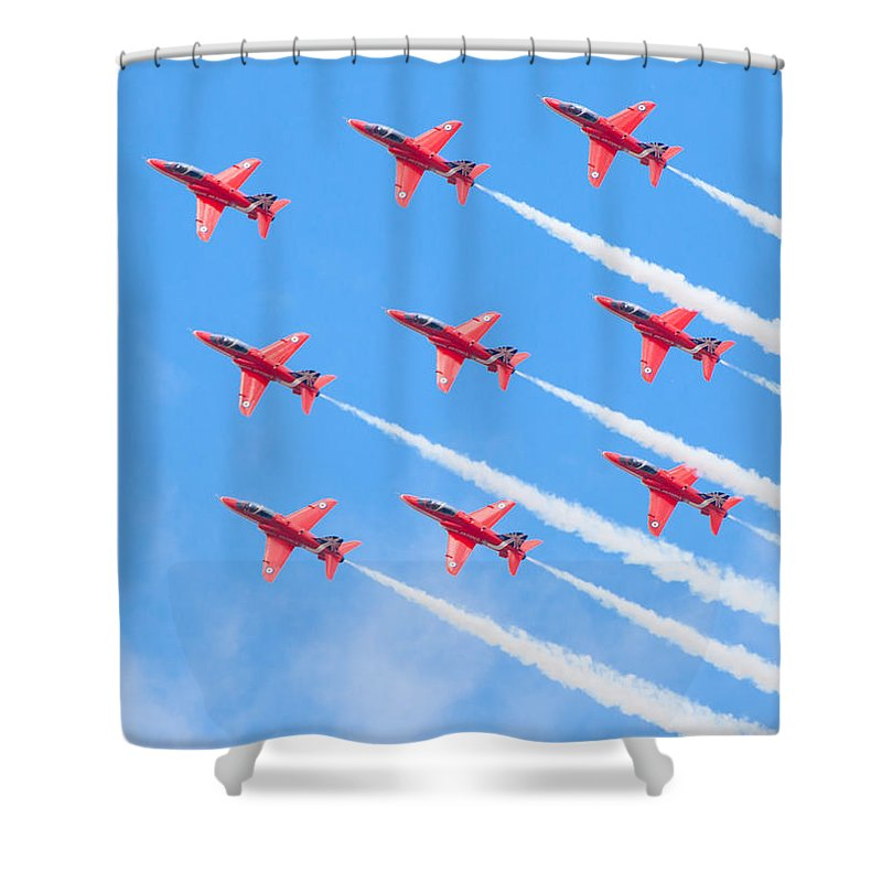 2014 Shower Curtain featuring the photograph Red Arrows by Shaun Wilkinson