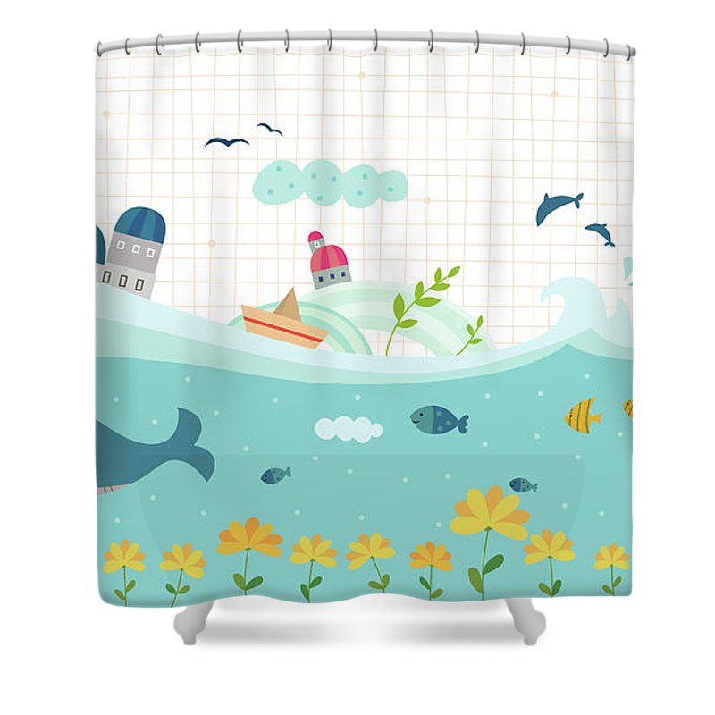 Seaweed Shower Curtain featuring the digital art View Of Town by Eastnine Inc.