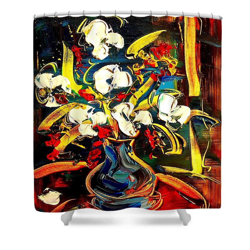 Shower Curtain featuring the painting Flowers by Mark Kazav