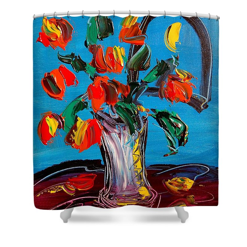 Flowers Shower Curtain featuring the painting Flowers by Mark Kazav