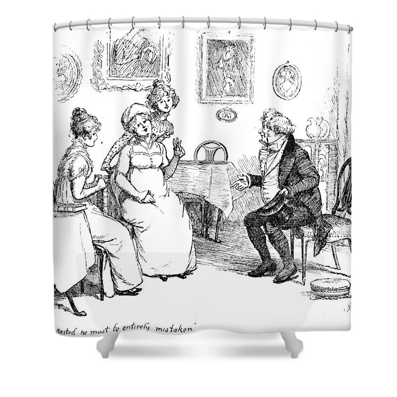 Protested He Must Be Entirely Mistaken; Illustration; Pride And Prejudice Jane Austen; Sir William Lucas; Mrs; Bennet; Charlotte Shower Curtain featuring the drawing Scene From Pride And Prejudice By Jane Austen by Hugh Thomson
