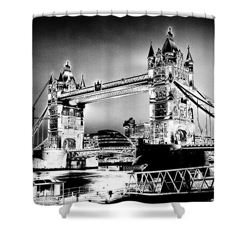 Bridge Shower Curtain featuring the digital art Tower Bridge Art by David Pyatt