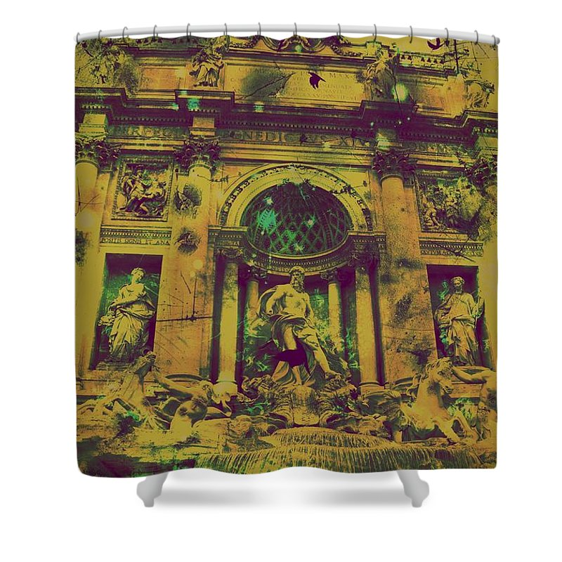 Trevi Fountain Shower Curtain featuring the digital art Trevi Fountain by Marina McLain