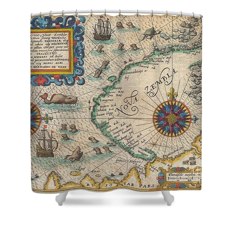 A Highly Important Map Regarding The Early Search For A Northeast Passage. This Remarkable Map Was Drawn In 1601 By Theodore De Bry To Describe The Ill Fated Third Voyage Of The Dutch Explorer William Barentsz In Search Of The Northeast Passage. The Map Depicts The Island Of Nova Zemba Shower Curtain featuring the photograph 1601 De Bry And De Veer Map Of Nova Zembla And The Northeast Passage by Paul Fearn