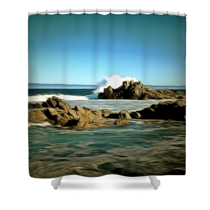 Barbara Snyder Shower Curtain featuring the painting 17 Mile Drive IIi Digital by Barbara Snyder