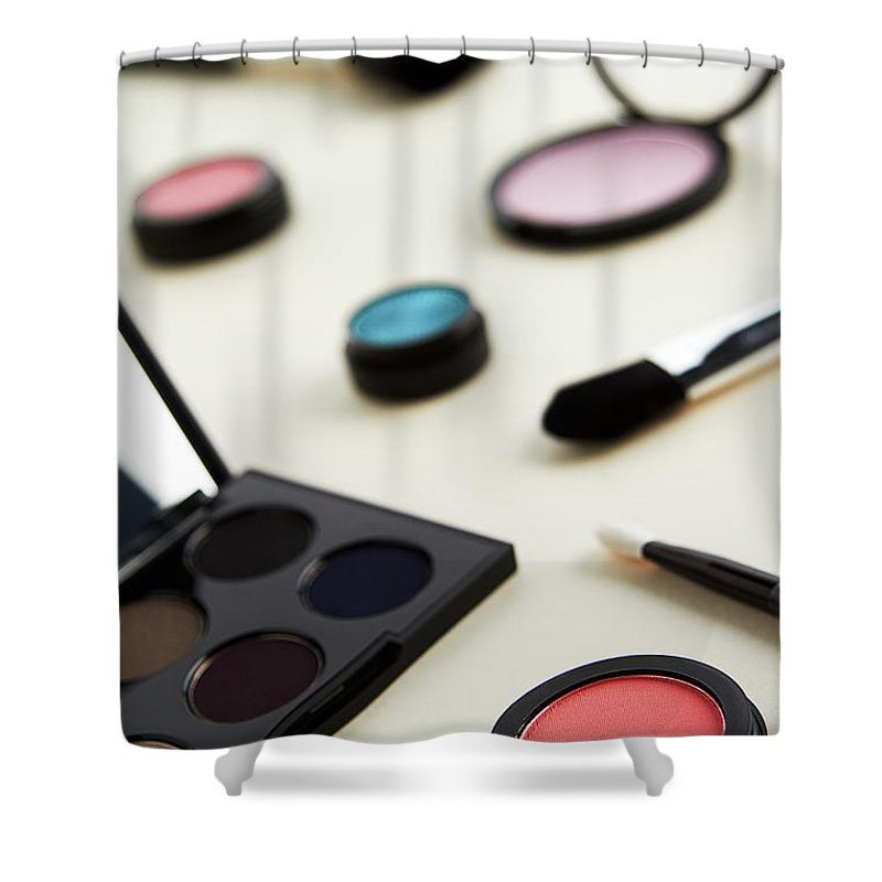 White Background Shower Curtain featuring the photograph Still Life Of Beauty Products by Stephen Smith