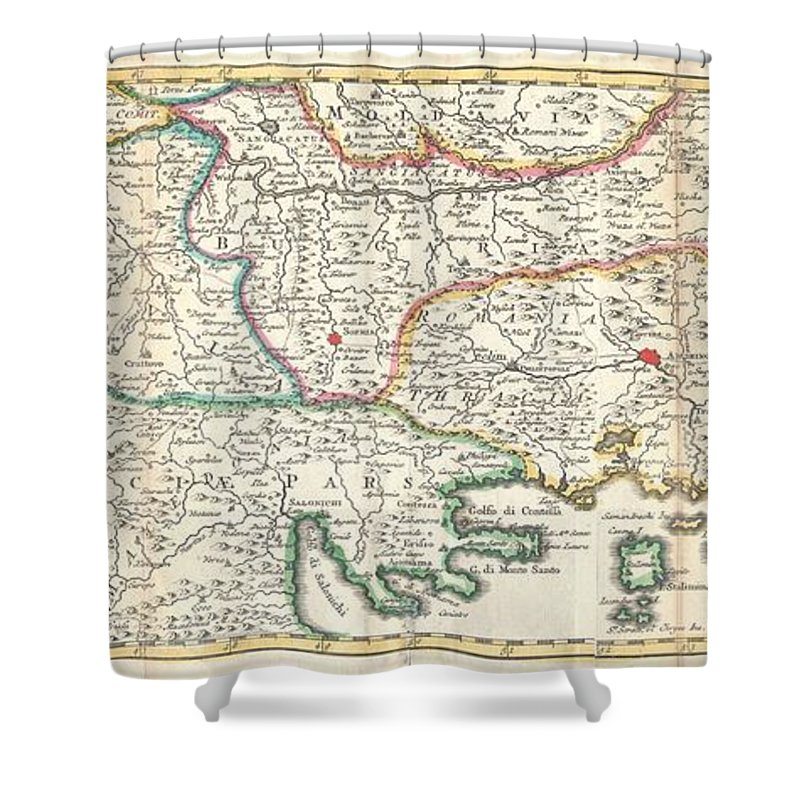 This Is A Rare And Unusual 1738 Map Of The Balkans By J. Ratelband. Likely Revised And Updated From Earlier Charts By The De La Feuille Family. Depicts From Modern Day Albania (dalmatia) Eastward Through Bosnia Shower Curtain featuring the photograph 1738 Ratelband Map Of The Balkans by Paul Fearn