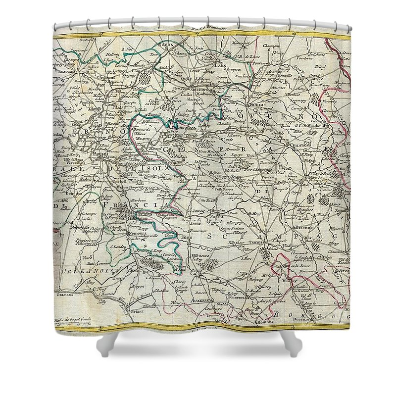 This Map Is A Hand Colored Depiction Of Central France ( The Vicinity Of Paris ) By An A. Zatta. Map Depicts France From Chartes In The West To Langres In The Southeast To Verdun In The Northeast. Paris Is Central. Map Is Beautifully Rendered In The Late 18th Century Style. Shower Curtain featuring the photograph 1740 Zatta Map Of Central France And The Vicinity Of Paris by Paul Fearn