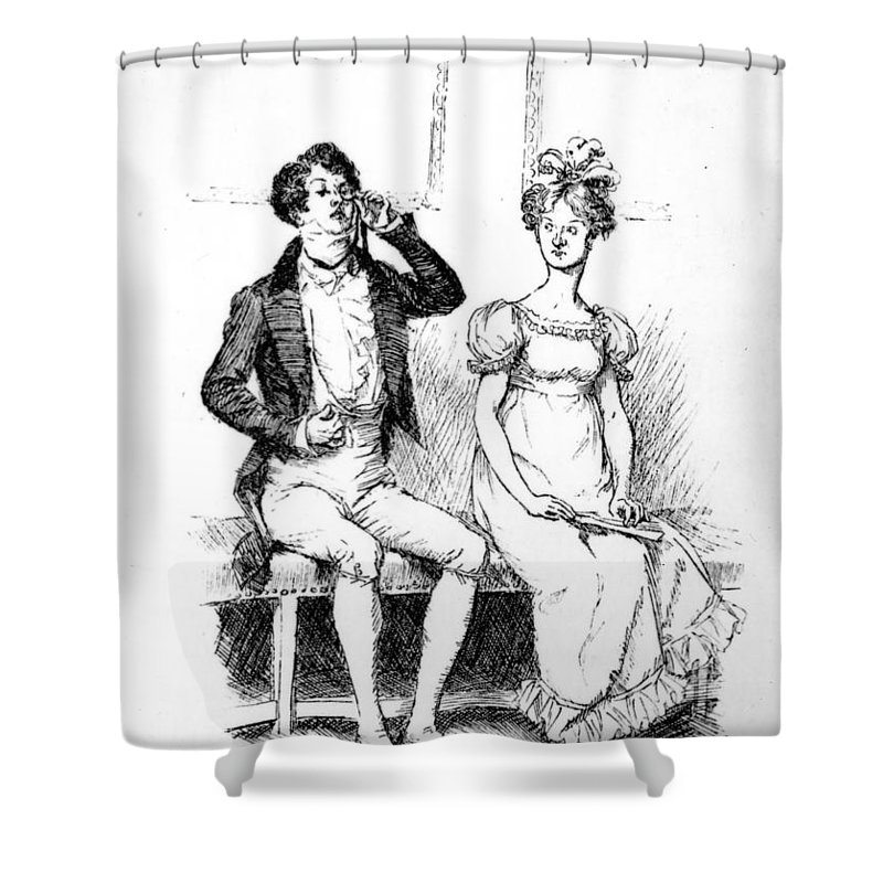 Without Once Opening His Lips; Illustration; Pride And Prejudice; Jane Austen; Mr; Darcy; Mrs; Long; Meryton Assembly; Dance; Illustrated; Edition; Seated; Next To; Silent; Antisocial; Unsociable; Unfriendly; Georgian; Regency; Costume; Character Shower Curtain featuring the drawing Scene From Pride And Prejudice By Jane Austen by Hugh Thomson
